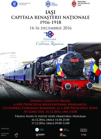 Afișul cu Sosirea Trenului Regal la Iași